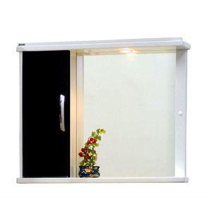 Espelheira de Banheiro com Luminária Branco e Preto 50x40 Naple Bonatto