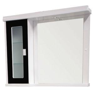 Espelheira de Banheiro Com Luminária Branco e Preto 65x81x14cm Bonatto