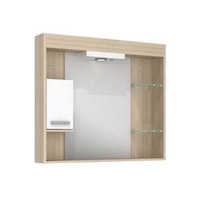 Espelheira de Banheiro Com Luminaria Ibizza 70x80x12 Napoli  Darabras Agardi