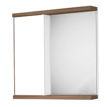 Espelheira de Banheiro Queen 60x60x13cm Branco e Nogal Fabribam