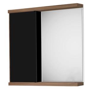 Espelheira de Banheiro Queen 60x60x13cm Preto e Nogal Fabribam
