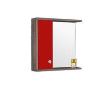Espelheira de Banheiro Retrô 65x60x15cm Amêndoa e Vermelho Fabribam