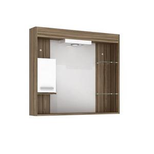 Espelheira de Banheiro Com Luminaria Terracota 70x80x12 Napoli  Darabras Agardi