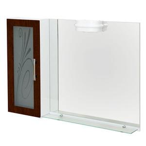 Espelheira Para Banheiro Lages MDF Tabaco/Branco C/Luminária 97X68X13Cm Contemporânea Darabas