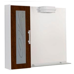 Espelheira Para Banheiro Lages MDF Tabaco/Branco C/Luminária 77X68X13Cm Contemporânea Darabas