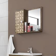 Espelheira Para Banheiro  Dayene 46x57,5x10cm Madeira Rústica/ Madeira 3D Moveis Bechara