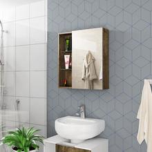 Espelheira Para Banheiro Nancy 60x54x15,2cm Madeira Rústica Moveis Bechara