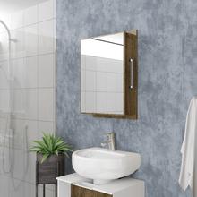 Espelheira Para Banheiro Napoli 67x75x15,5cm Madeira Rústica Moveis Bechara