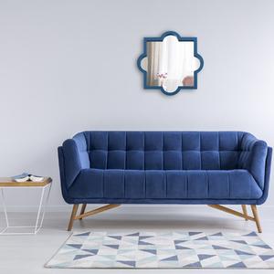 Espelho Artdeco Pequeno Azul 40x40cm