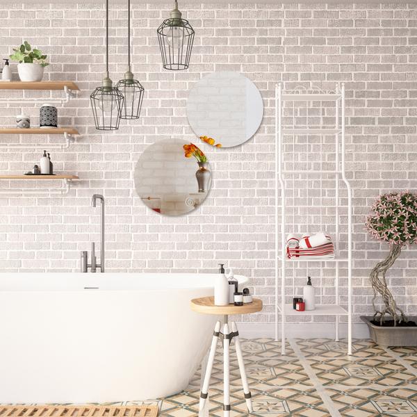 Espelho para Banheiro Redondo 34x34x0,3cm Autoadesivo Ballon ...