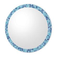 Espelho de Banheiro Redondo 50x50cm Mosaico Azul Cris Metal