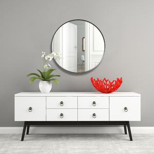 Espelho Decorativo Adnet Texturizado Redondo Preto 50cm