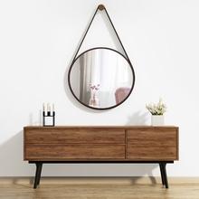 Espelho Decorativo Adnet Corten com Alça Courino Redondo Marrom 50cm