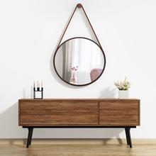Espelho Decorativo Adnet Texturizado com Alça Courino Redondo Preto 50cm