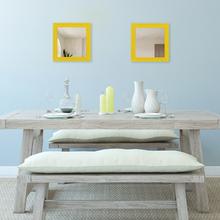 Espelho Quadrado Provençal com Moldura Amarela 40x40cm