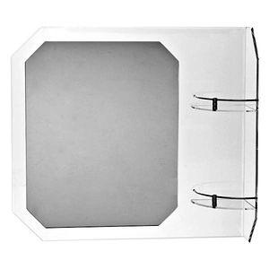Espelho Retangular Luxo com prateleira na lateral direita 57x63cm Formacril
