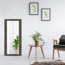 Espelho Retangular com Moldura Rústica Marrom 61x112cm
