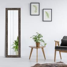 Espelho Retangular Rústico com Moldura Marrom 48x158cm