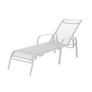 Espreguiçadeira Aço/Textilene Branco 197x66cm 4 Posições Importado
