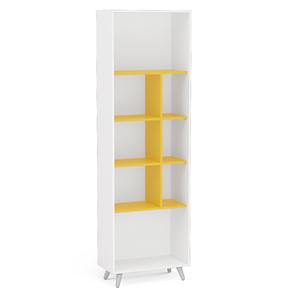 Estante Decorativa Madeira 4 Prateleiras Branco e Amarelo 193,5x6x30cm Politorno