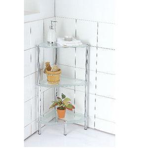 Estante para Banheiro Metal e Vidro 73x34x34 3 Prateleiras