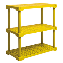 Estante Utilitária Plastico 3 Prateleiras Amarela 86,2x41,7x82,2cm Grift