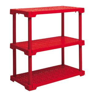 Estante Utilitária Plastico 3 Prateleiras Vermelho 86,2x41,7x82,2cm Grift