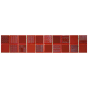 Faixa Decorativa Retangular Brilhante Cerâmica CVF307 Vermelho 8x30cm Lineart