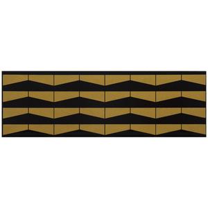Faixa Decorativa Retangular Brilhante Cerâmica Duna D'Oro Dourado e Preto 11x34cm Lineart
