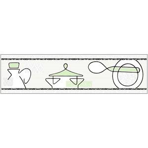 Faixa Decorativa Retangular Brilhante Cerâmica FR007 Verde 8x30cm Lineart