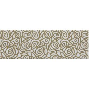 Faixa Decorativa Retangular Brilhante Cerâmica Marrakesh D'Oro Bege e Preto 11x34cm Lineart