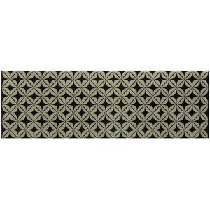 Faixa Decorativa Retangular Acetinado Cerâmica Stelle D'Oro Bege e Preto 11x34cm Lineart