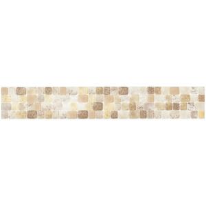 Faixa Decorativa Retangular Semi-Brilho Cerâmica Vetrata Bege 5,5X33 cm Incepa