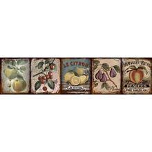 Faixa Decorativa Retangular Cerâmica Vintage Frutas GVT02 8,5x35cm Artens
