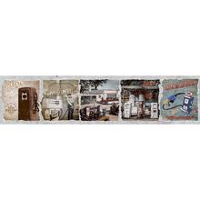 Faixa Decorativa Retangular Cerâmica Vintage Posto de Gasolina GVT03 8,5x35cm Artens