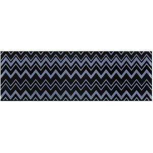 Faixa Decorativa Retangular Brilhante Cerâmica Zingara Marino Azul e Preto 11x34cm Lineart