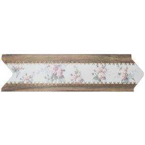 Faixa Decorativa Universal Brilhante Cerâmica 5146 HD Branco, Marrom, Rosa e Verde 8x30,6cm Ceusa