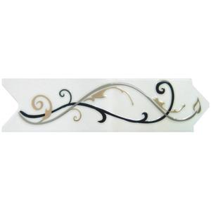 Faixa Decorativa Universal Brilhante Cerâmica Versato 6623  Branco, Preto, Dourado e Cinza 8x30,6cm Ceusa