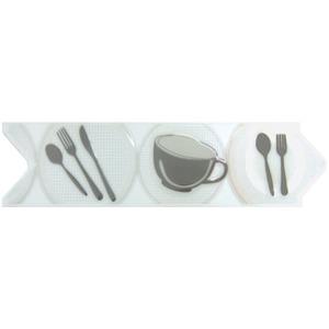 Faixa Decorativa Universal Brilhante Cerâmica Versato 6628 Branco e Cinza 8x30,6cm Ceusa