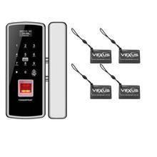 Fechadura Biométrica Para Porta De Vidro Mais 4 Chaveiros Rfid