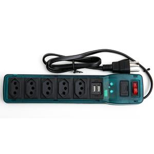 Filtro Linha Plást. 5 tom + 2 USB 10A