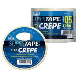 Fita Crepe Super Tape Branca 18mm x 50m 5 Unidades Tekbond