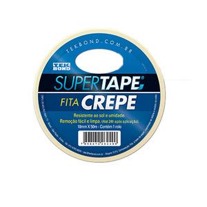 Fita Crepe Super Tape Branca 18mm x 50m Tekbond