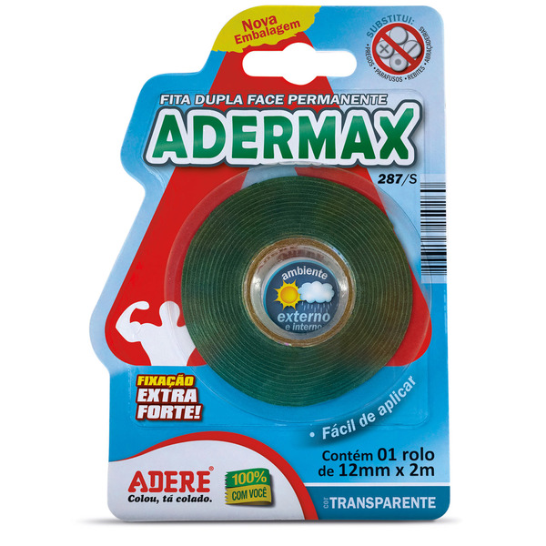 Fita Dupla Face Incolor Adermax 12mm x 2m Adere   Leroy Merlin 8dbf266b61