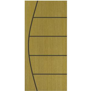 Folha de Porta de Giro Decorada Madeira Angelim Sólida PSS03  Ambos os Lados 2,10x0,90m Abrilar