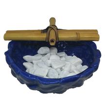 Fonte de Água Cerâmica Cascata Bambu Azul 19x12cm 127V(110V)