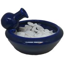 Fonte de Água Cerâmica Vaso Barro Azul 20x12cm 250V(220V)