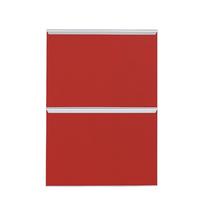 Frente 2 Gavetass Lille Alumínio/Vidro Vermelho 2T40