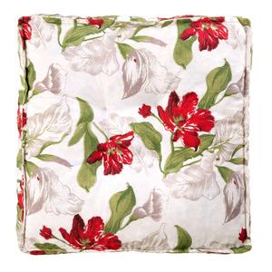 Futon Floral Branco e Vermelho 45x45cm