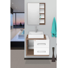Gabinete com Espelheira Lótus 60 46x60x42cm Branco e Nogal Fabribam
